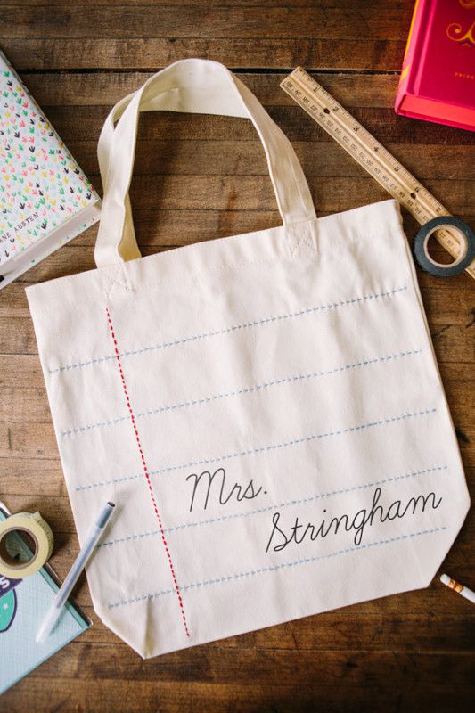 Personalized DIY Teacher Tote Bag