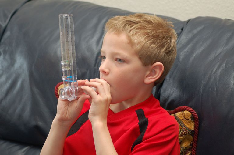 A child using a peak flow meter.