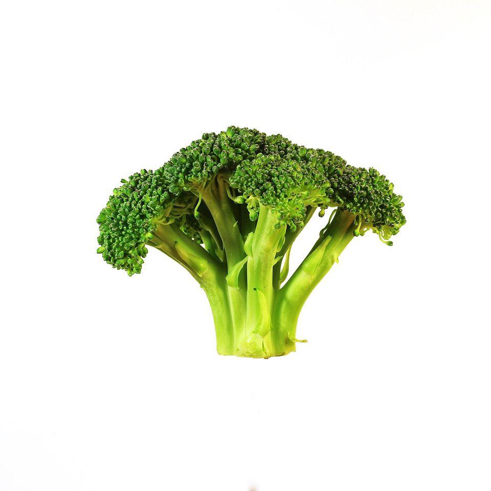 Broccoli Head On White Background
