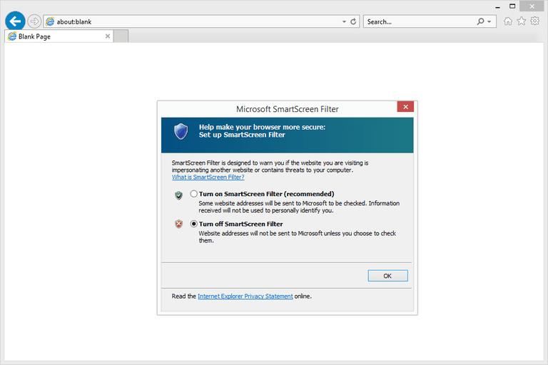 Screenshot of the IE11 SmartScreen Filter Settings in Windows 8
