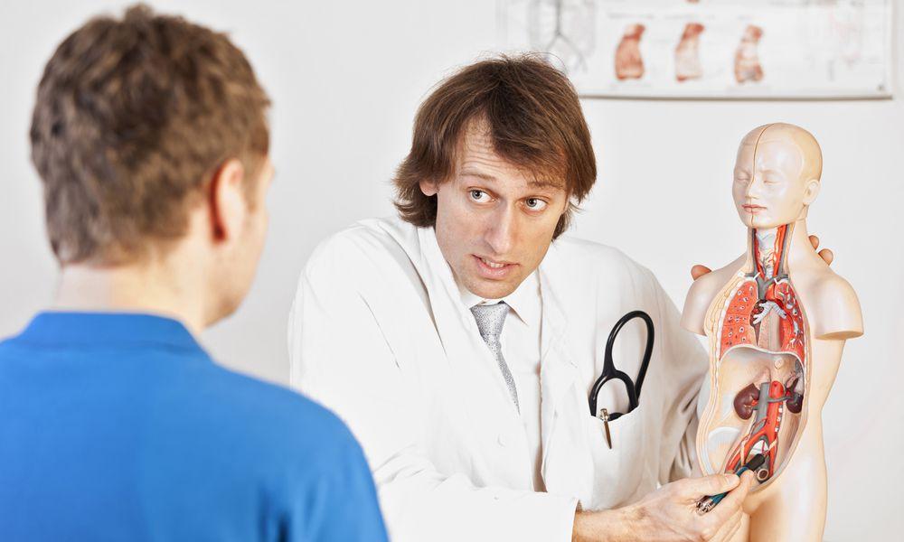 Doctor explaining urological problems