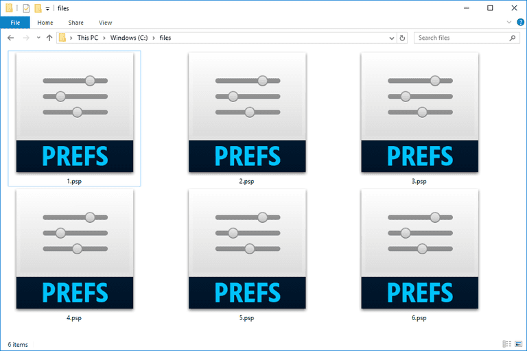 Screenshot of several PSP files in Windows 10 that open with Adobe Photoshop