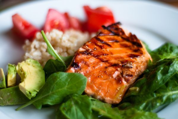 salmon and spinach dinner