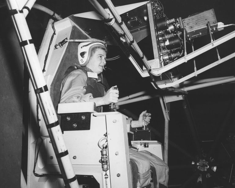 Jerrie Cobb in 1960, testing the Gimbal Rig, used to train astronauts