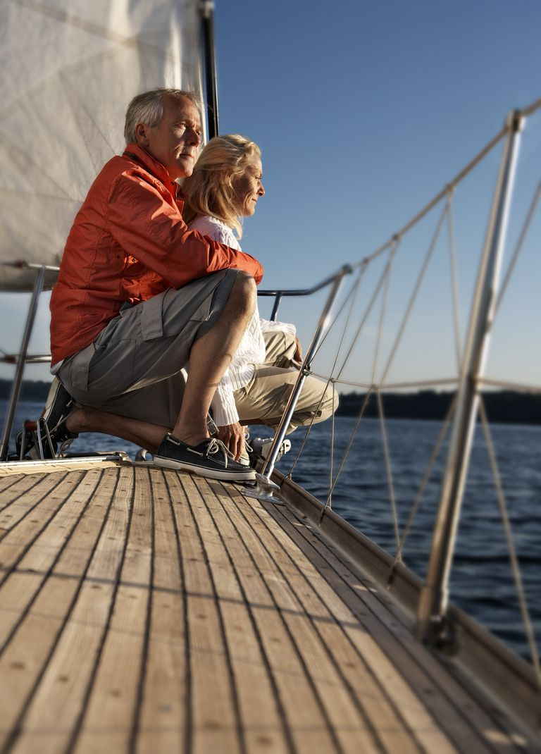 Mature couple on sailboat