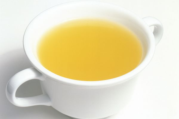 Chicken bouillon in cup