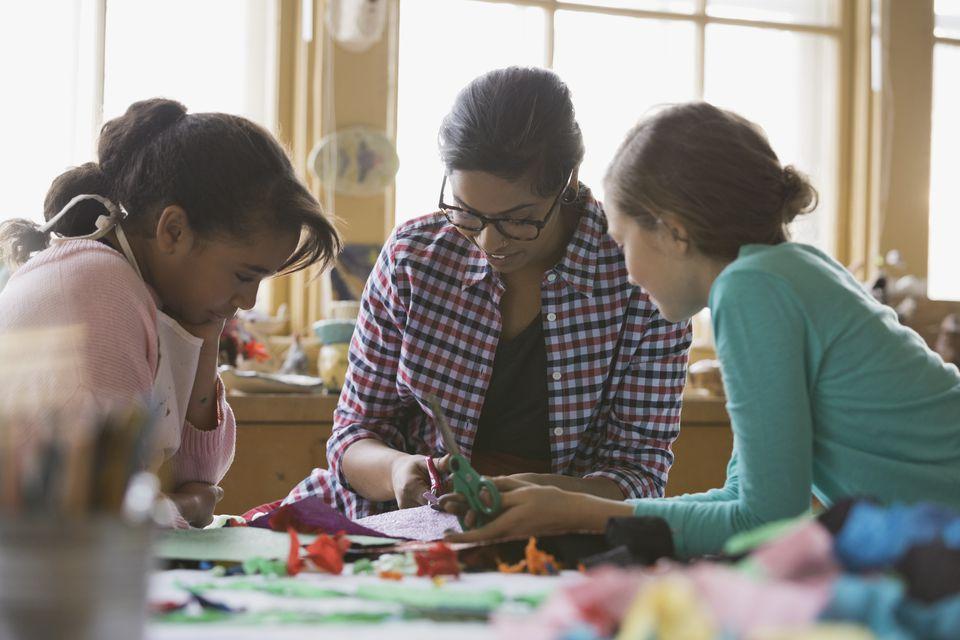 Teacher assisting girls in art class