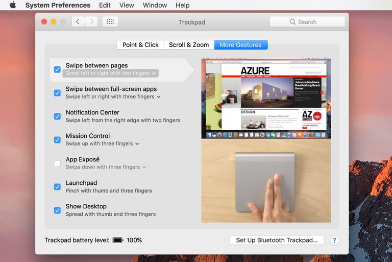 Mac trackpad preference pane