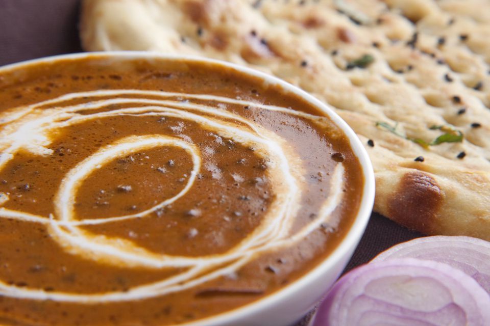 Close-up of dal makhni with naan
