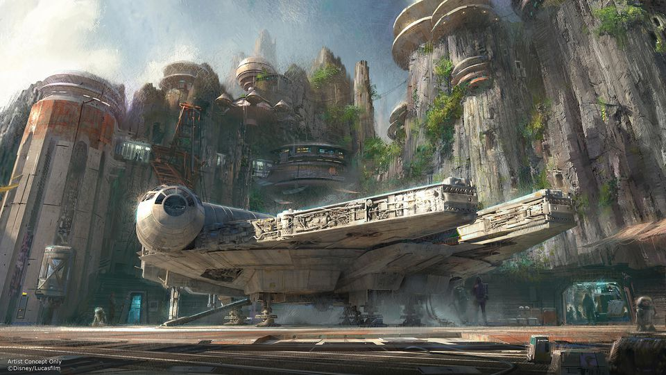 AMong the attractions at new Star Wars Lands will be a ride featuring the Millennium Falcon.