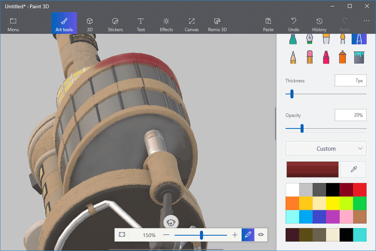 Screenshot showing paint on a 3D model in Paint 3D