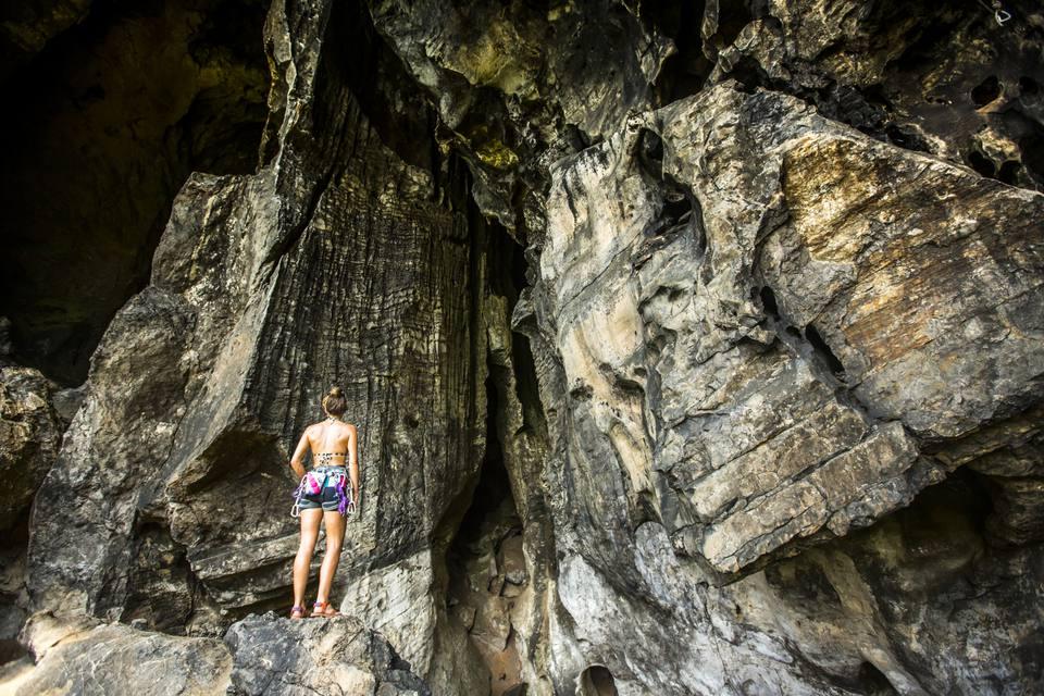 Female climber in Railay, Thailand