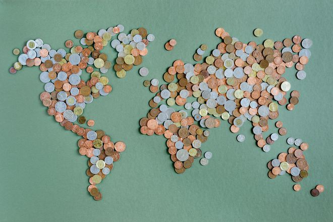 coins in shape of world map