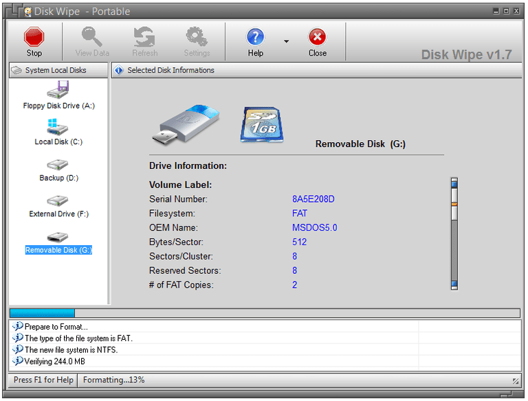 Screenshot of Disk Wipe v1.7