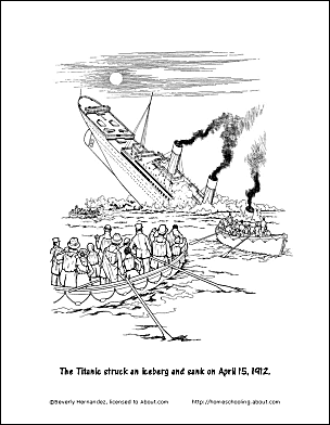 Free printable titanic worksheets and coloring pages for Titanic coloring pages to print