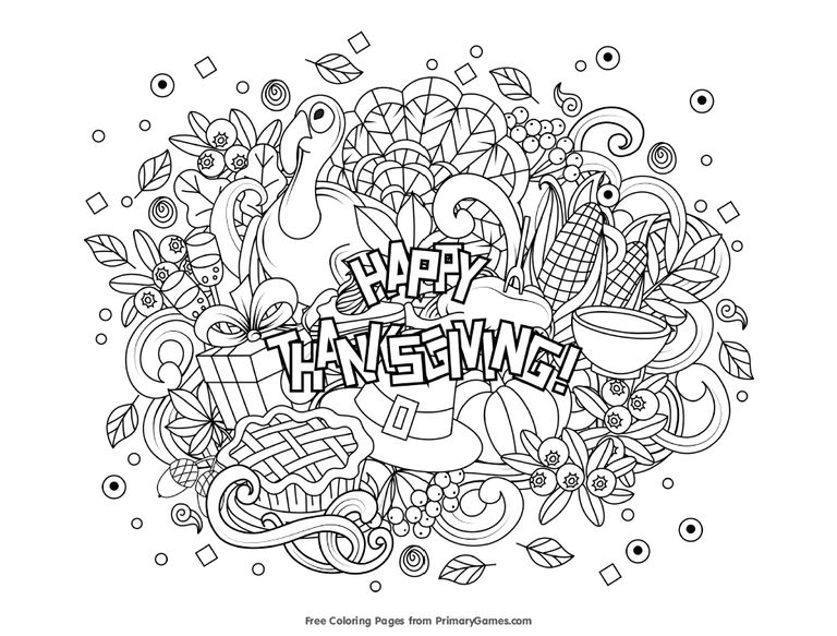 Primary Games Thanksgiving Coloring Pages A Happy Page With All Sorts Of Images