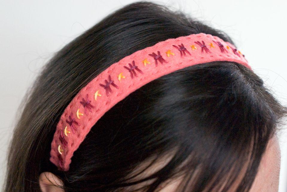 Embroidered Felt Headband