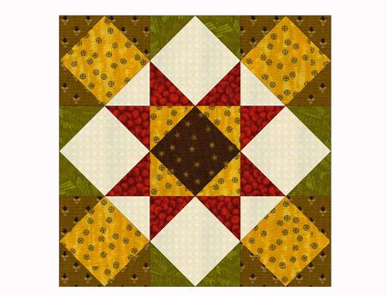 Evening Star Quilt Block Pattern With Nine-Patch Centers : evening star quilt block pattern - Adamdwight.com