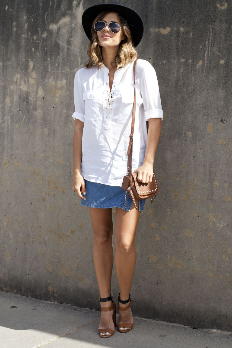 Jean Skirt Outfit With White Shirt