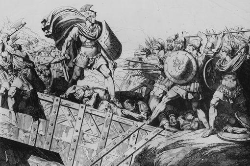 Roman hero Horatius (530 - 500 BC) defending the Tiber Bridge against the army of Lars Porsena
