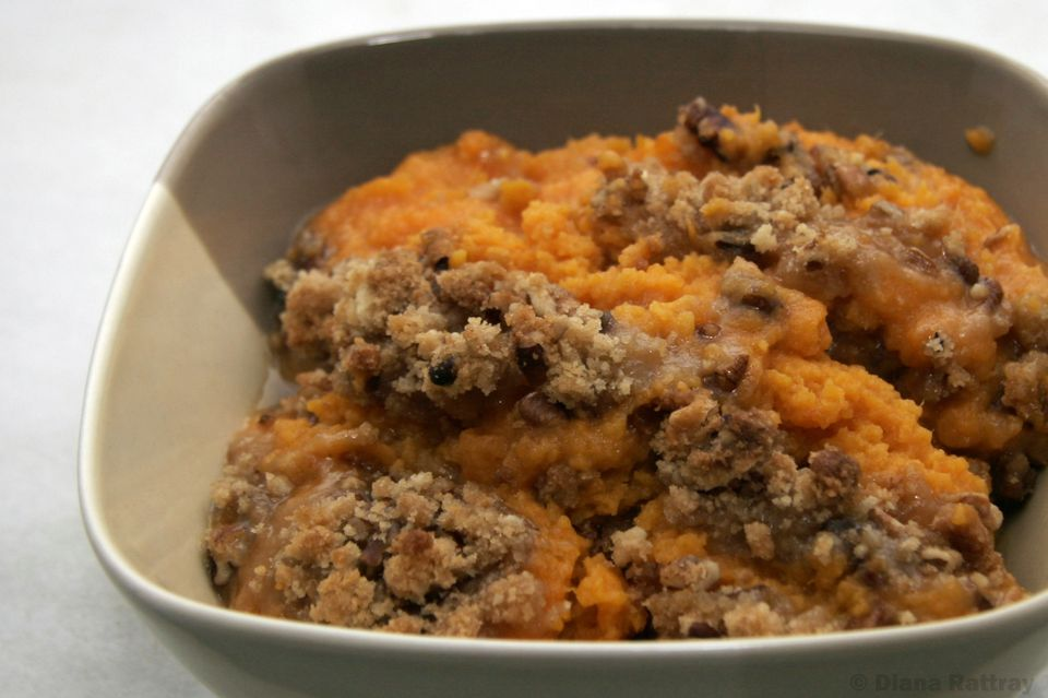 A bowl of slow cooker sweet potato casserole