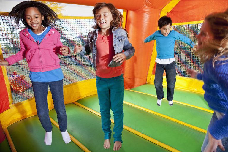 Jumping in a bounce house