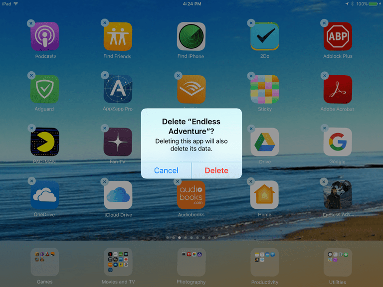 A confirmation button for deleting an app on the iPad.