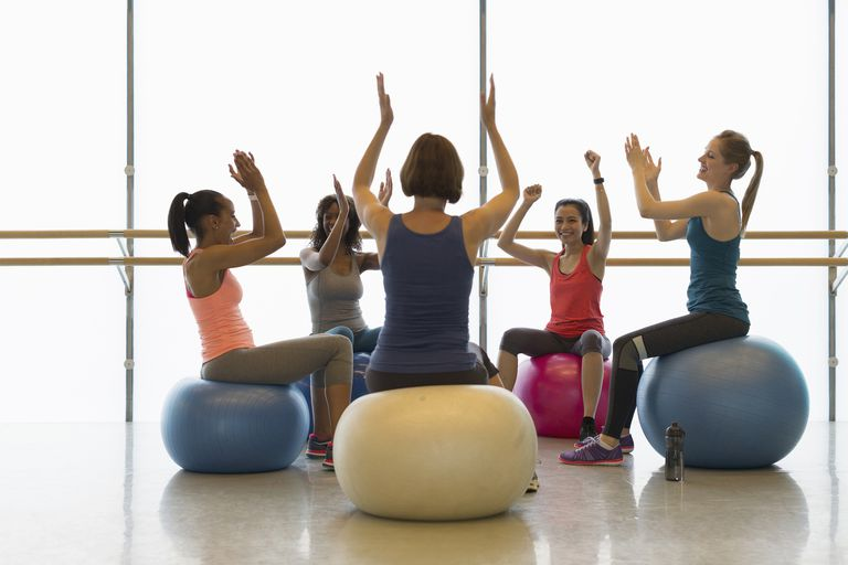 Women on fitness balls cheering and clapping in gym studio