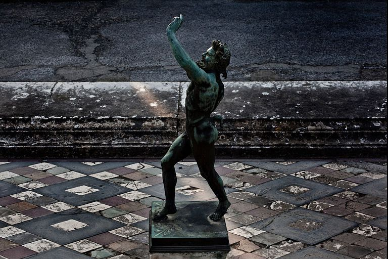 The Dancing Faun at the House of the Faun in Pompeii