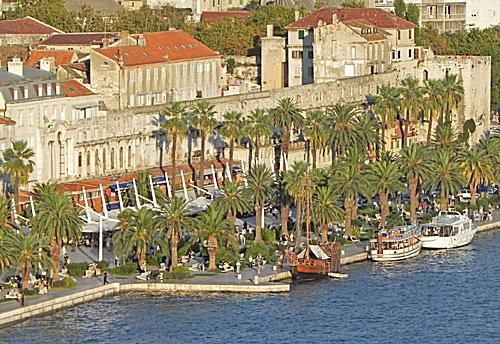 Waterfront by Split's Walled City in Croatia