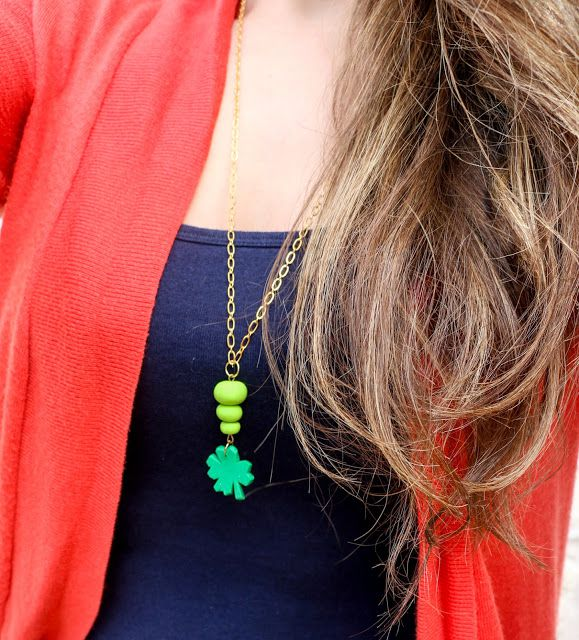 DIY St. Patrick's Day Clover Necklace