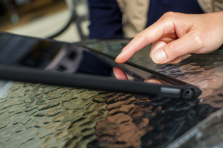 Hand of Japanese woman touching digital tablet
