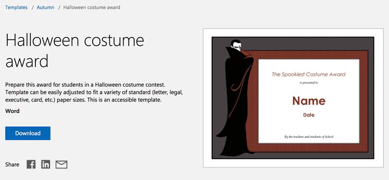 dracula vampire halloween costume award template for microsoft word