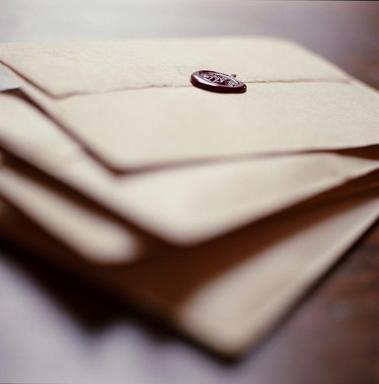 Wax sealed envelopes, close-up