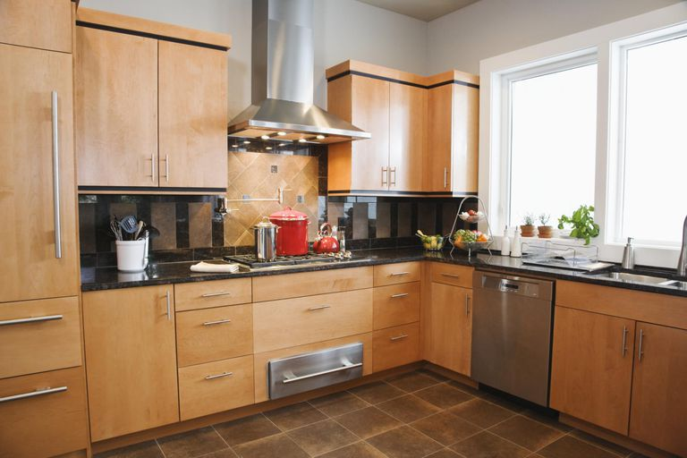 optimal kitchen design. Modern Kitchen With Red Pots On Stove Optimal Kitchen Upper Cabinet Height