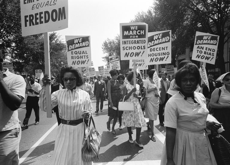 Civil rights advocates march on Washington, D.C. in 1963.