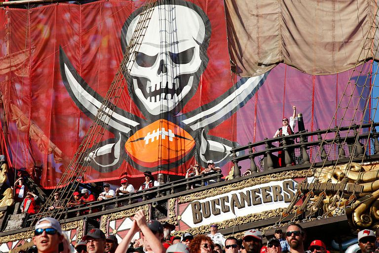 Tampa Bay Buccaneers flag and fans