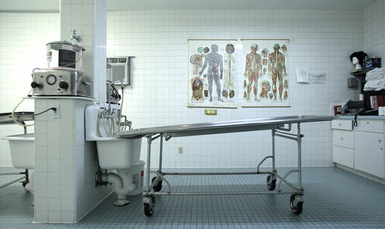 An embalming table and embalming machine.