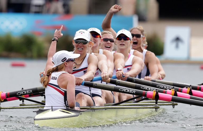 United States celebrate after winning the gold medal for the Women's Eight rowing on Day 6 of the London 2012 Olympic Games at Eton Dorney on August 2, 2012 in Windsor, England.