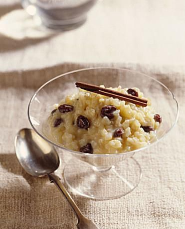 Rice pudding made from leftover cooked rice with raisins and cinnamon