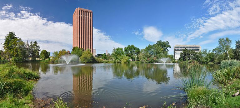 Du Bois library and pond on University of Massachusetts Campus in Amherst.