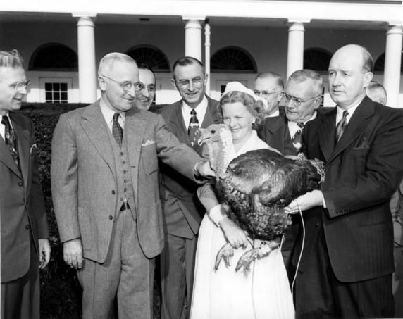 Harry Truman Receiving a Turkey for Thanksgiving