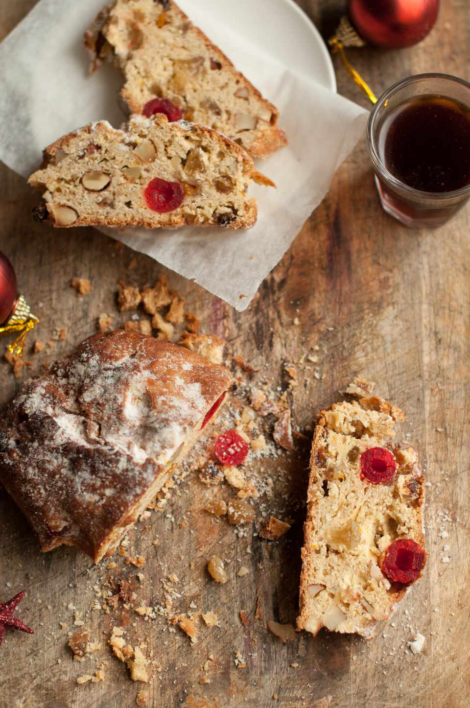 Christmas stollen with fruits and nuts