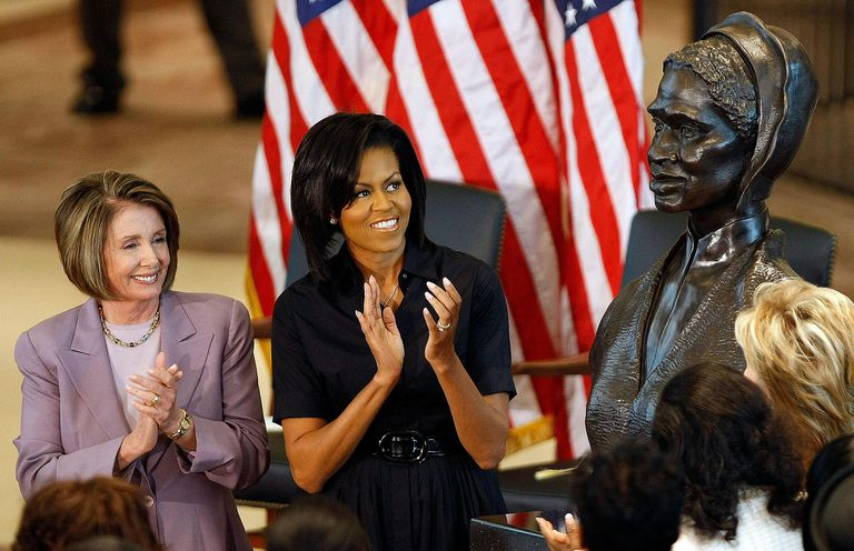 First Lady Michelle Obama and then Speaker of the House Nancy Pelosi unveil a bust of Sojourner Truth at the U.S. Capitol. Truth's commentary on race and gender is valued within sociology.