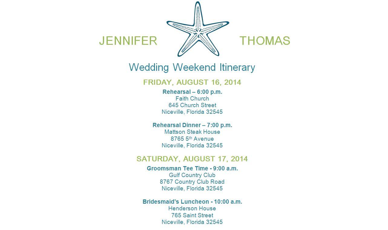 wedding itinerary template free
