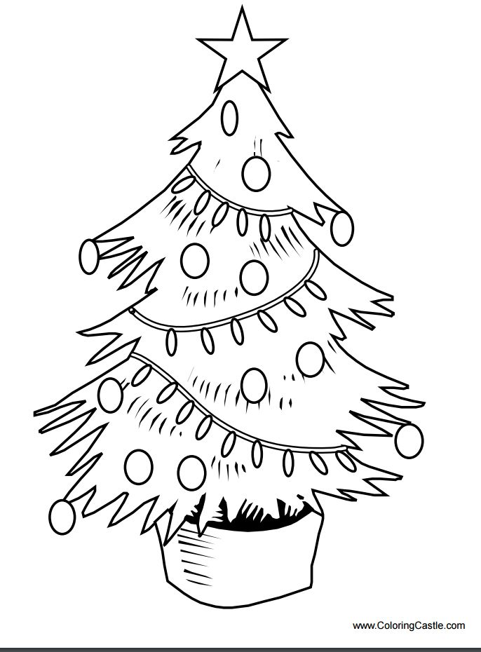 Coloring Castles Printable Christmas Tree Pages A Decorated With Bulbs Lights And Star