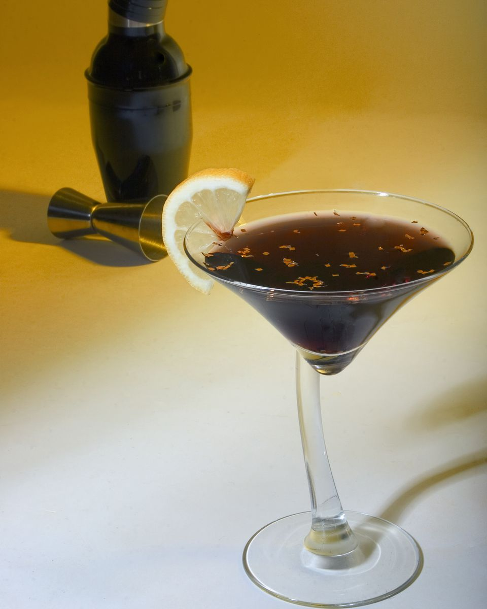 Black Martini With Gold Flake