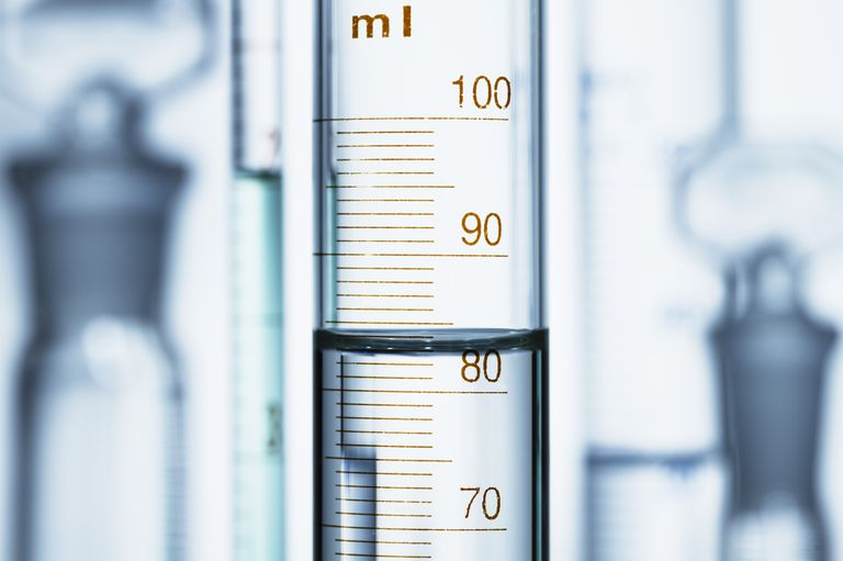 Meniscus. Curved surface (meniscus) of water in graduated cylinder. Liquid volume measured by reading the scale at the bottom of the meniscus. The reading is 82.6 mL