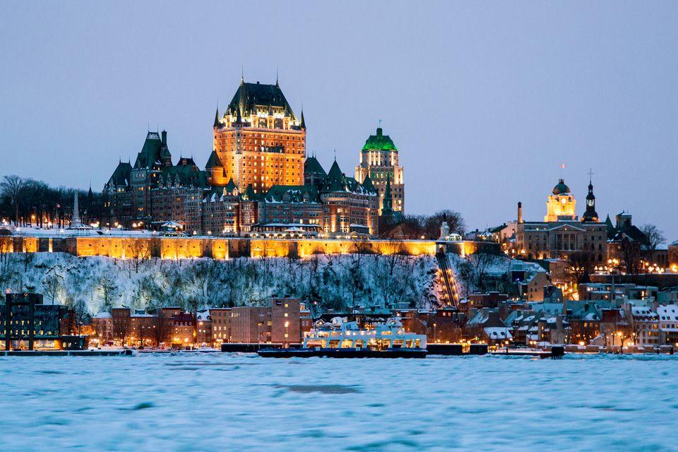 Quebec city skyline in Winter