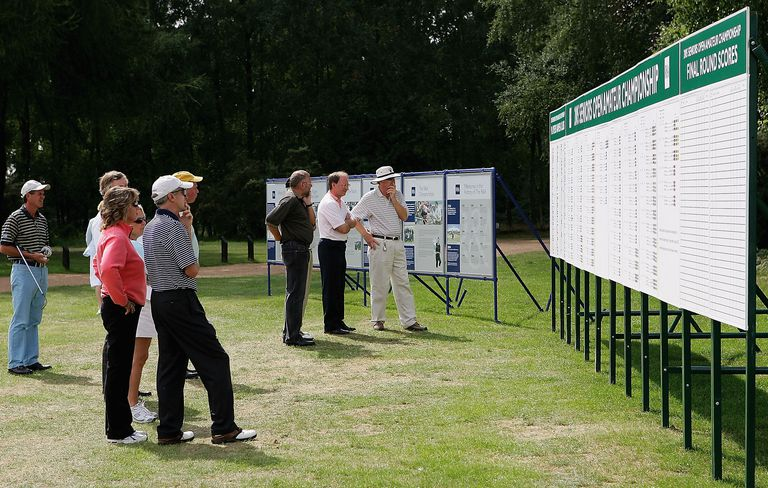 Players and spectators gather around the scoreboard to see who made the 36 hole cut during the second round of The 2005 Seniors Open Amateur Championship